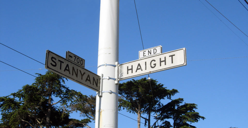 Street signs marking the corner of Stanyan and Haight